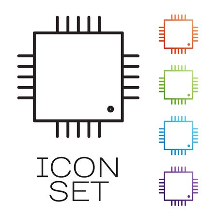 Black line Computer processor with microcircuits CPU icon isolated on white background. Chip or cpu with circuit board sign. Micro processor. Set icons colorful. Vector Illustration