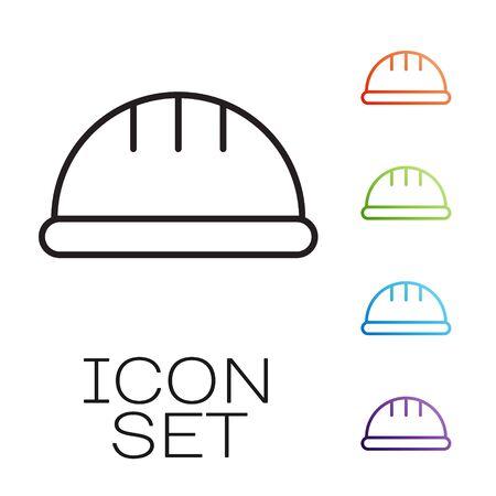 Black line Worker safety helmet icon isolated on white background. Set icons colorful. Vector Ilustração