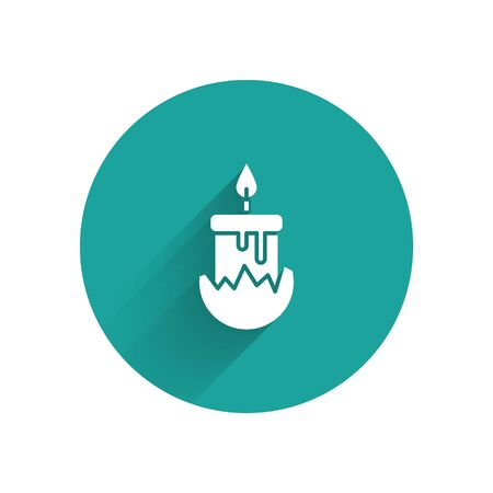 White Burning candle in candlestick icon isolated with long shadow. Cylindrical candle stick with burning flame. Green circle button. Vector