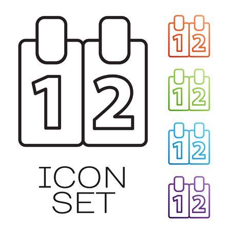 Black line Mathematics function cosine icon isolated on white background. Set icons colorful. Vector