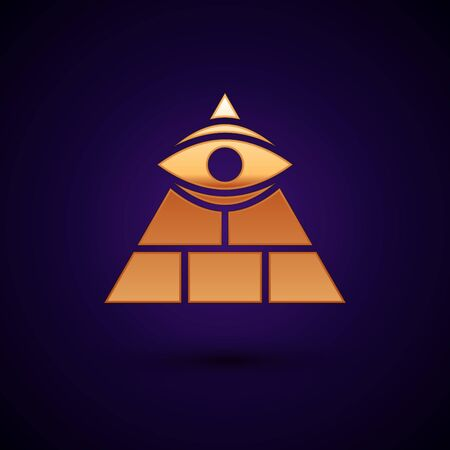 Gold Masons symbol All-seeing eye of God icon isolated on black background. The eye of Providence in the triangle. Vector