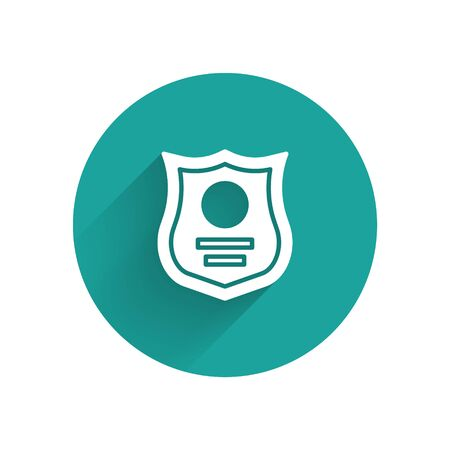 White Police badge icon isolated with long shadow. Sheriff badge sign. Green circle button. Vector