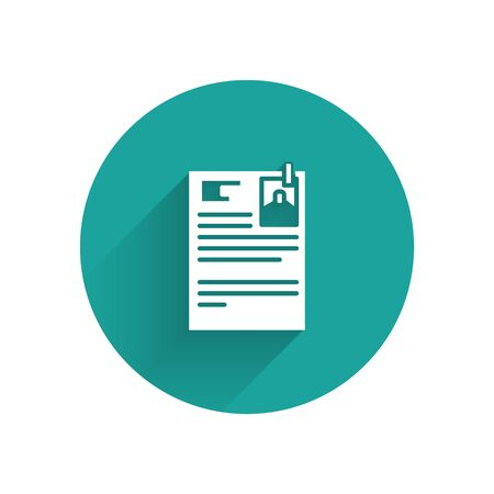 White Lawsuit paper icon isolated with long shadow. Green circle button. Vector Illustration 矢量图像