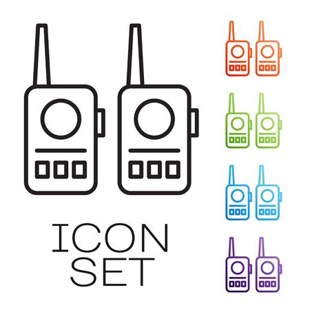 Black line Walkie talkie icon isolated on white background. Portable radio transmitter icon. Radio transceiver sign. Set icons colorful. Vector