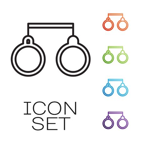 Black line Handcuffs icon isolated on white background. Set icons colorful. Vector 矢量图像