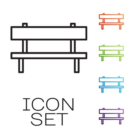 Black line Bench icon isolated on white background. Set icons colorful. Vector Illustration