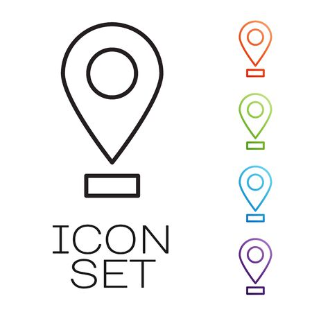 Black line Map pin icon isolated on white background. Navigation, pointer, location, map, gps, direction, place, compass, search concept. Set icons colorful. Vector