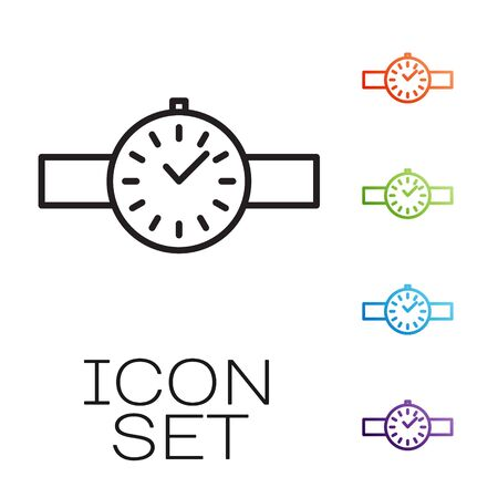 Black line Wrist watch icon isolated on white background. Wristwatch icon. Set icons colorful. Vector