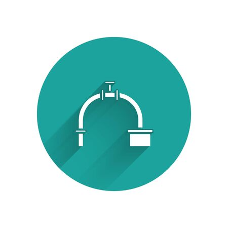 White Industry metallic pipe and valve icon isolated with long shadow. Green circle button. Vector Vectores