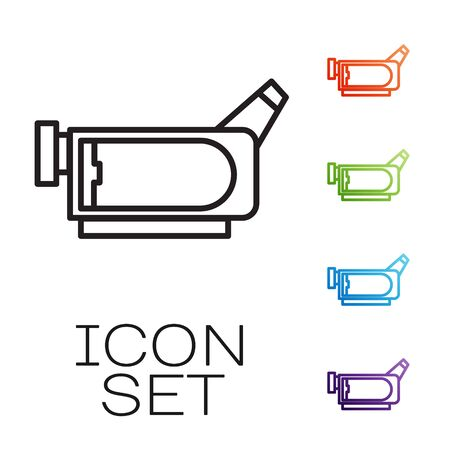Black line Cinema camera icon isolated on white background. Video camera. Movie sign. Film projector. Set icons colorful. Vector Иллюстрация