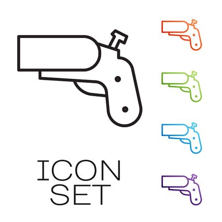 Black line Flare gun pistol signal sos icon isolated on white background. Emergency fire shoot target smoke. Orange 911 launcher. Set icons colorful. Vector