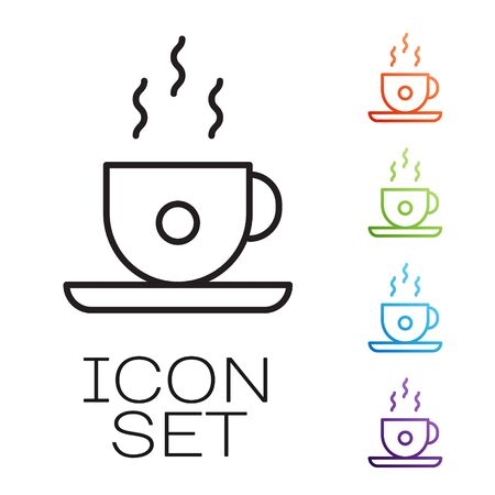 Black line Coffee cup icon isolated on white background. Tea cup. Hot drink coffee. Set icons colorful. Vector