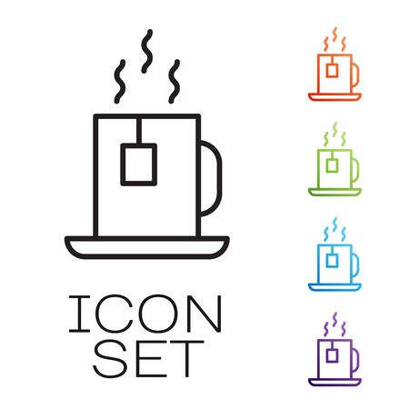 Black line Cup of tea with tea bag icon isolated on white background. Set icons colorful. Vector Ilustracja