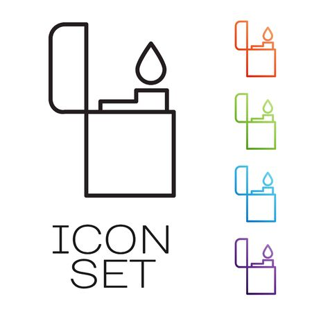 Black line Lighter icon isolated on white background. Set icons colorful. Vector Illustration