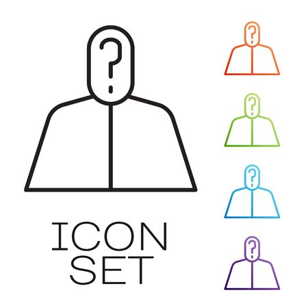 Black line Anonymous man with question mark icon isolated on white background. Unknown user, incognito profile, business secrecy, obscurity. Set icons colorful. Vector