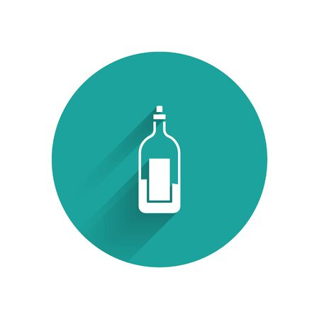 White Bottle of wine icon isolated with long shadow. Green circle button. Vector