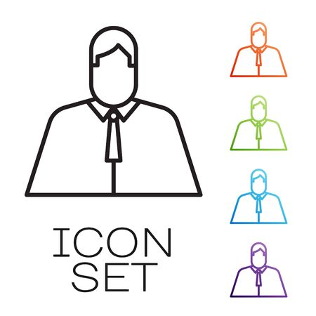 Black line Lawyer, attorney, jurist icon isolated on white background. Jurisprudence, law or court icon. Set icons colorful. Vector