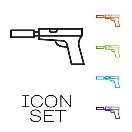 Black line Pistol or gun with silencer icon isolated on white background. Set icons colorful. Vector