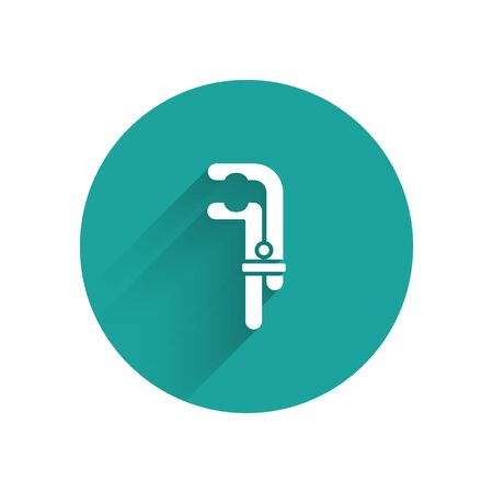 White Clamp tool icon isolated with long shadow. Locksmith tool. Green circle button. Vector Illustration