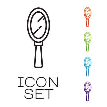 Black line Magic hand mirror icon isolated on white background. Set icons colorful. Vector
