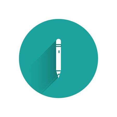 White Pencil with eraser icon isolated with long shadow. Drawing and educational tools. School office symbol. Green circle button. Vector 向量圖像