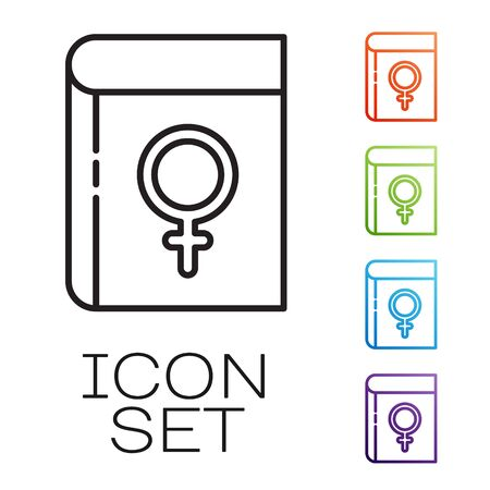Black line Book about women icon isolated on white background. 8 March. International Happy Women Day. Set icons colorful. Vector