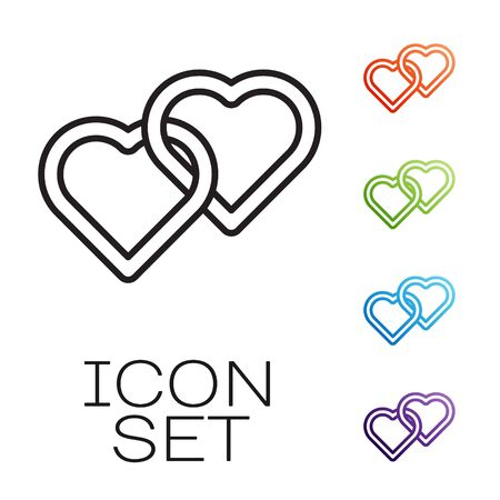 Black line Two Linked Hearts icon isolated on white background. Romantic symbol linked, join, passion and wedding. Happy Women Day. Set icons colorful. Vector Ilustração
