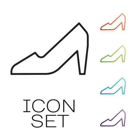 Black line Woman shoe with high heel icon isolated on white background. 8 March. International Happy Women Day. Set icons colorful. Vector