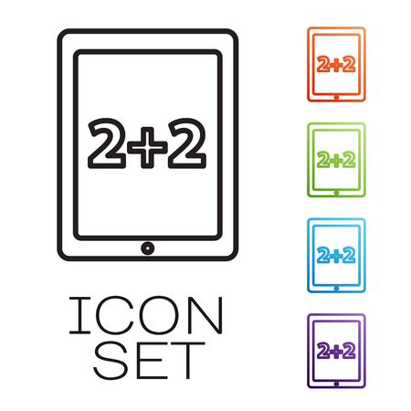 Black line Calculation icon isolated on white background. Set icons colorful. Vector