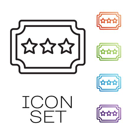 Black line Ticket icon isolated on white background. Amusement park. Set icons colorful. Vector