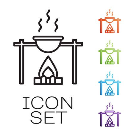 Black line Campfire and pot icon isolated on white background. Fire camping cooking in cauldron on firewood and flame. Set icons colorful. Vector