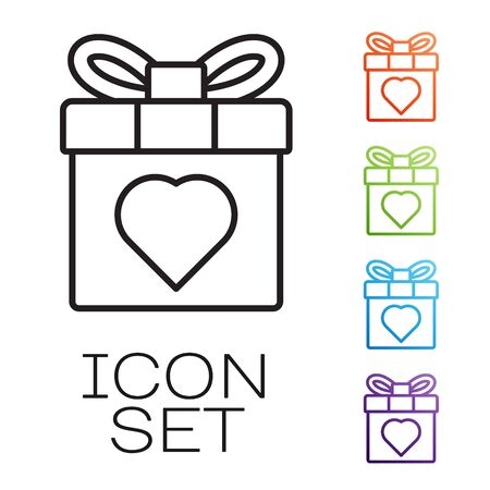 Black line Gift box and heart icon isolated on white background. 8 March. International Happy Women Day. Set icons colorful. Vector