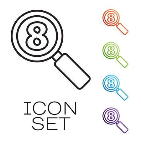 Black line Search 8 March icon isolated on white background. Magnifying glass sign. International Happy Women Day. Set icons colorful. Vector