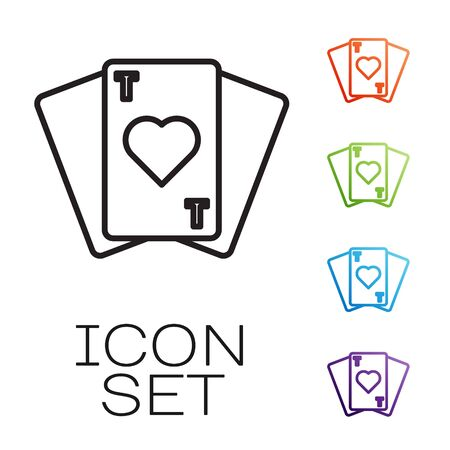 Black line Playing cards icon isolated on white background. Casino gambling. Set icons colorful. Vector