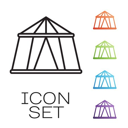 Black line Circus tent icon isolated on white background. Carnival camping tent. Amusement park. Set icons colorful. Vector