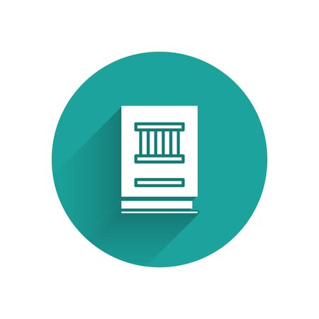 White Law book icon isolated with long shadow. Legal judge book. Judgment concept. Green circle button. Vector Illustration
