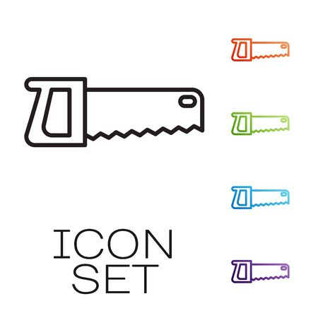 Black line Hand saw icon isolated on white background. Set icons colorful. Vector
