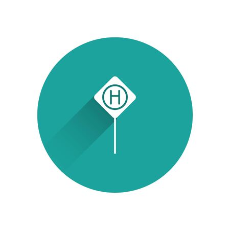 White Parking icon isolated with long shadow. Street road sign. Green circle button. Vector Illustration