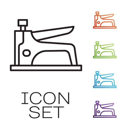 Black line Construction stapler icon isolated on white background. Working tool. Set icons colorful. Vector Vecteurs