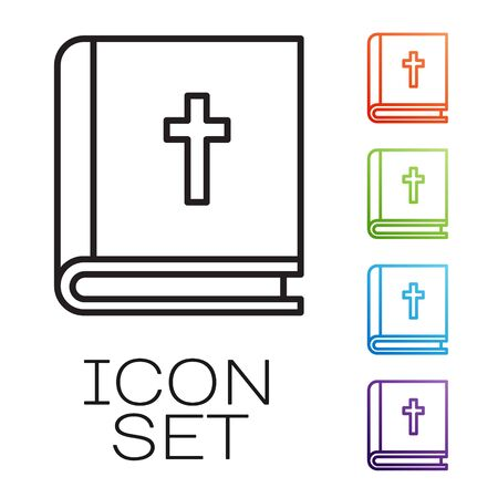 Black line Holy bible book icon isolated on white background. Set icons colorful. Vector Illustration Vettoriali