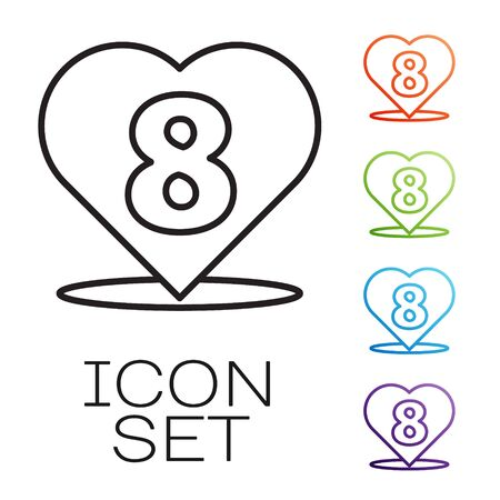 Black line Heart with 8 March icon isolated on white background. Romantic symbol linked, join, passion and wedding. Happy Women Day. Set icons colorful. Vector