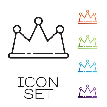 Black line Crown icon isolated on white background. Set icons colorful. Vector