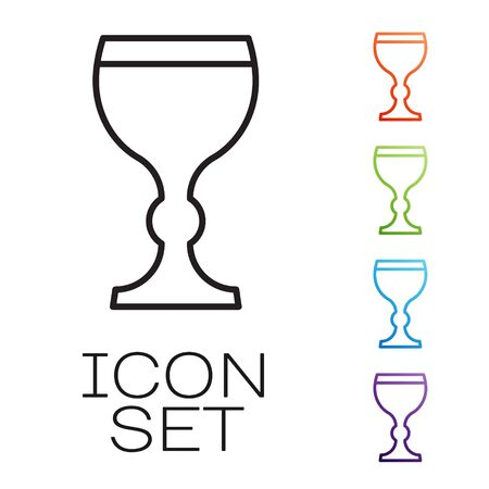 Black line Wine glass icon isolated on white background. Wineglass icon. Goblet symbol. Glassware sign. Happy Easter. Set icons colorful. Vector Illustration