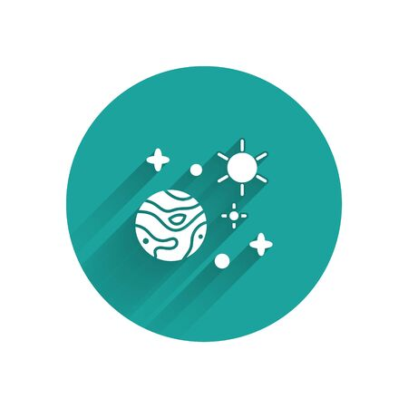 White Space and planet icon isolated with long shadow. Planets surface with craters, stars and comets. Green circle button. Vector