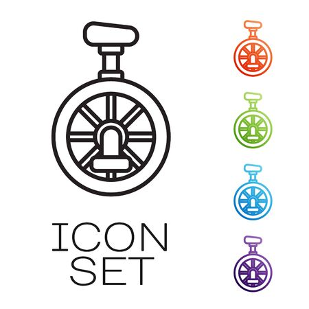 Black line Unicycle or one wheel bicycle icon isolated on white background. Monowheel bicycle. Set icons colorful. Vector Иллюстрация