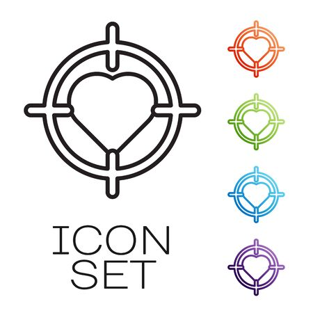Black line Heart in the center of darts target aim icon isolated on white background. International Happy Women Day. Set icons colorful. Vector Vectores