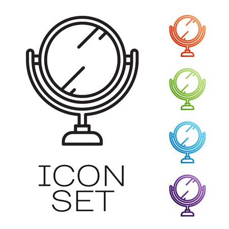 Black line Round makeup mirror icon isolated on white background. 8 March. International Happy Women Day. Set icons colorful. Vector Vectores