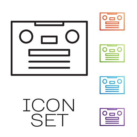 Black line Retro audio cassette tape icon isolated on white background. Set icons colorful. Vector Stok Fotoğraf - 147580831