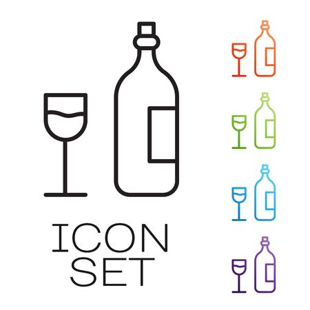 Black line Wine bottle with wine glass icon isolated on white background. Happy Easter. Set icons colorful. Vector Illustration