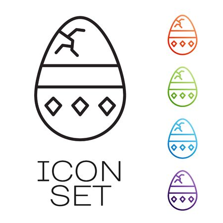 Black line Cracked egg icon isolated on white background. Happy Easter. Set icons colorful. Vector Illustration